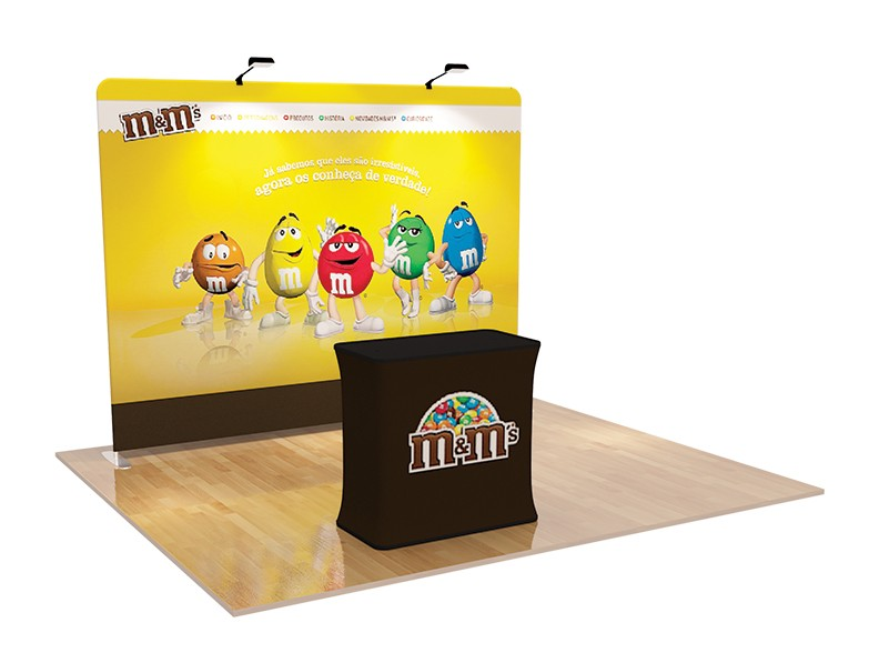 3m Straight Tension Fabric Display System & Branded Podium (Optional)